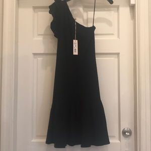 Rebecca Taylor 1 Shoulder Black Ribbed Dress